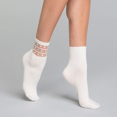 Pack de 2 pares de calcetines Mujer blancos - Dim Skin Fancy, , DIM