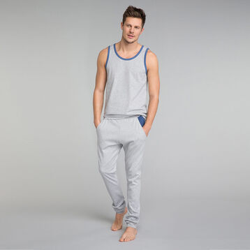 Camiseta de tirantes de pijama gris con detalles azules - Esseential, , DIM