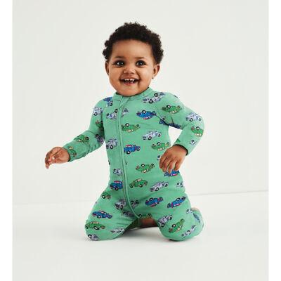 Pijama para bebé con cremallera de algodón elástico verde estampado camión Dim Baby, , DIM