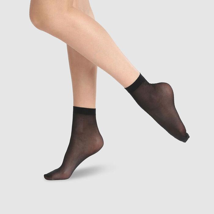 Pack de 2 calcetines bajos semiopacos negros 100 % hilo reciclado Green Dim 25D, , DIM