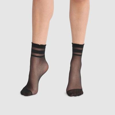 Calcetines bajos de fantasía estampado de rayas con tobillos negros Dim Style 29D, , DIM