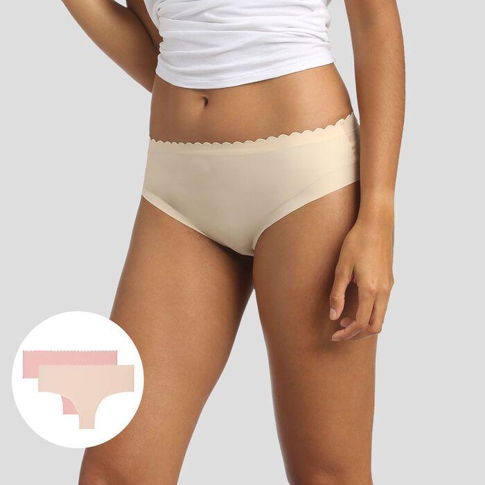 Pack de 2 braguitas hípster beige y rosa Body Touch Microfibre, , DIM
