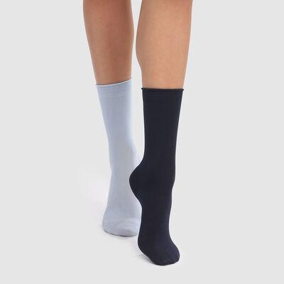 Pack de 2 pares de calcetines de caña media de modal azules Dim Modal, , DIM