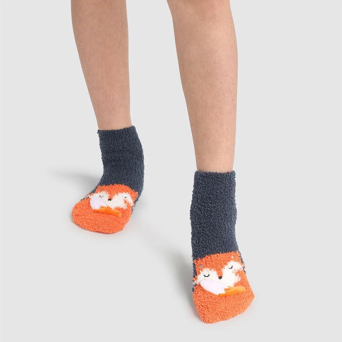 Calcetines para niños antideslizantes estampado zorro 3D gris Kids Cocoon, , DIM