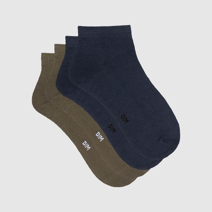 Pack de 2 pares de calcetines bajos para mujer de microfibra azul y verde Skin, , DIM