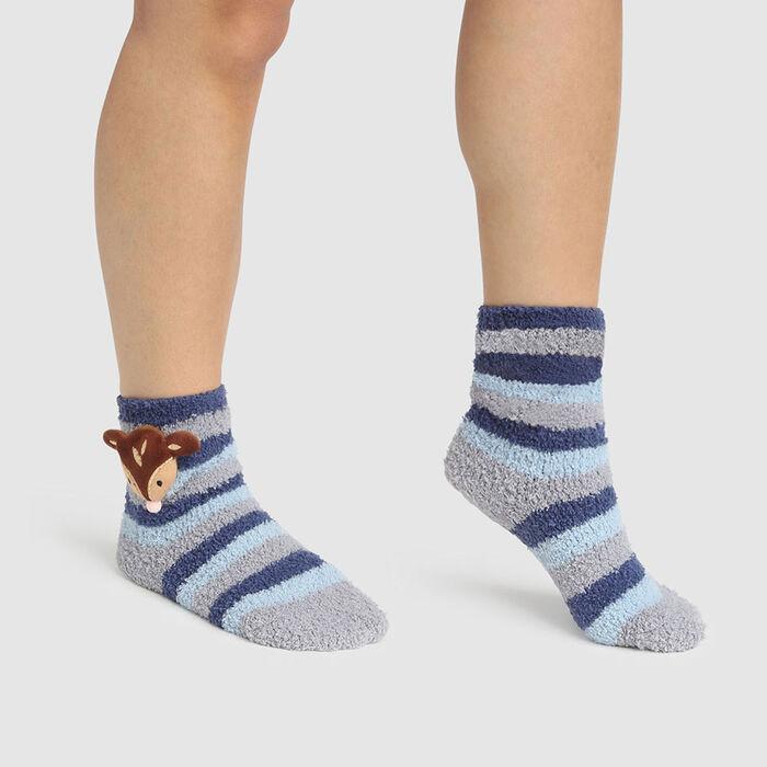 Calcetines para niños antideslizantes cabeza de cervatillo 3D gris Kids Cocoon, , DIM