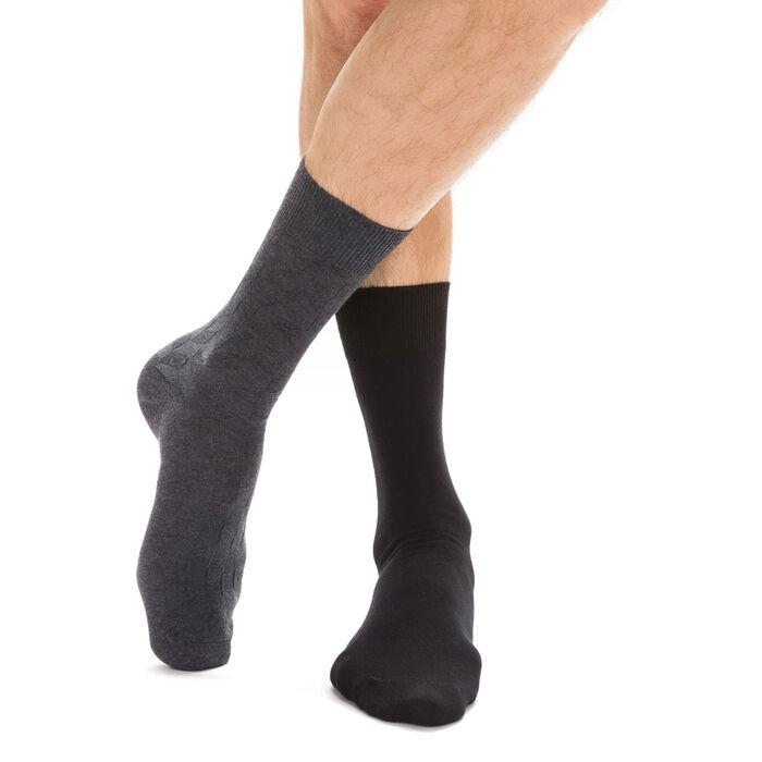 Lot de 2 paires de chaussettes noires et anthracites Homme-DIM