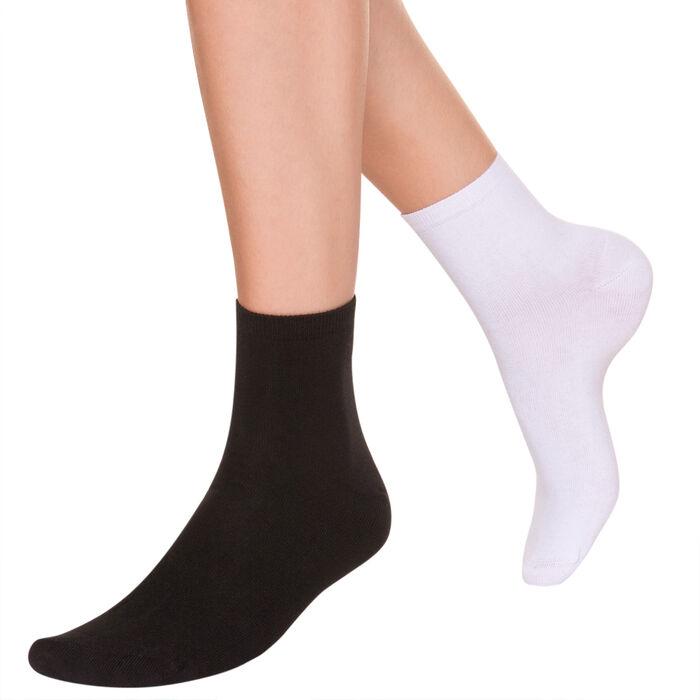 Lote de 2 pares de calcetines bajos de algodón blancos y negros, , DIM