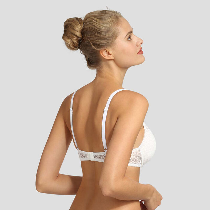 Sujetador triangular push-up de encaje blanco Résille Chic de Dim, , DIM