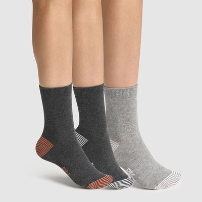 Pack de 3 pares de calcetines para niño mix and match gris Coton Style, , DIM