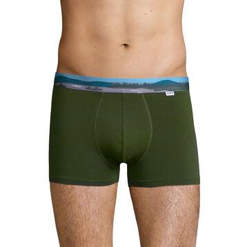 Bóxer verde oliva de algodón elástico con cintura estampada , , DIM