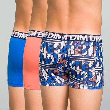 Pack de 3 bóxers de algodón elástico niño coral, azul y estampado - Trio DIM, , DIM