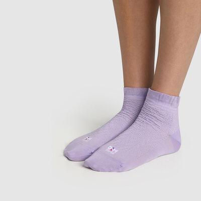 Calcetines bajos para mujer de hilo de Escocia y borde volante lila Dim Made in France, , DIM