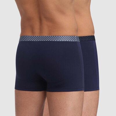 Pack de 2 boxers azules de algodón elástico con cintura estampada Mix and Print, , DIM