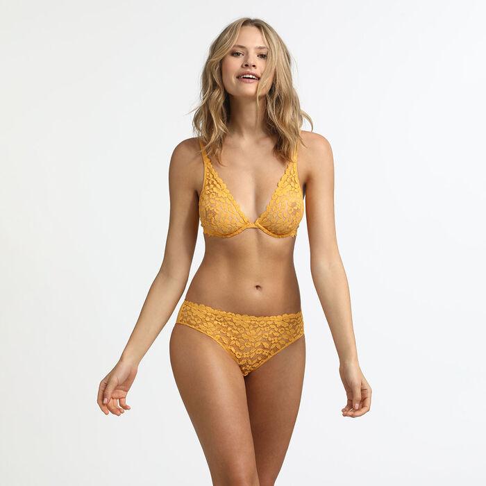 Sujetador triangular con aros amarillo Blooming Lace Dim, , DIM