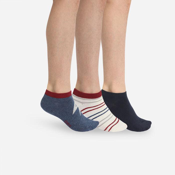 Pack de 3 pares de calcetines cortos para niños tormenta Azul Marino Coton Style, , DIM