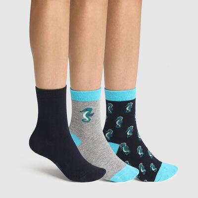 Pack de 3 pares de calcetines para niño estampado hipocampo Coton Style, , DIM