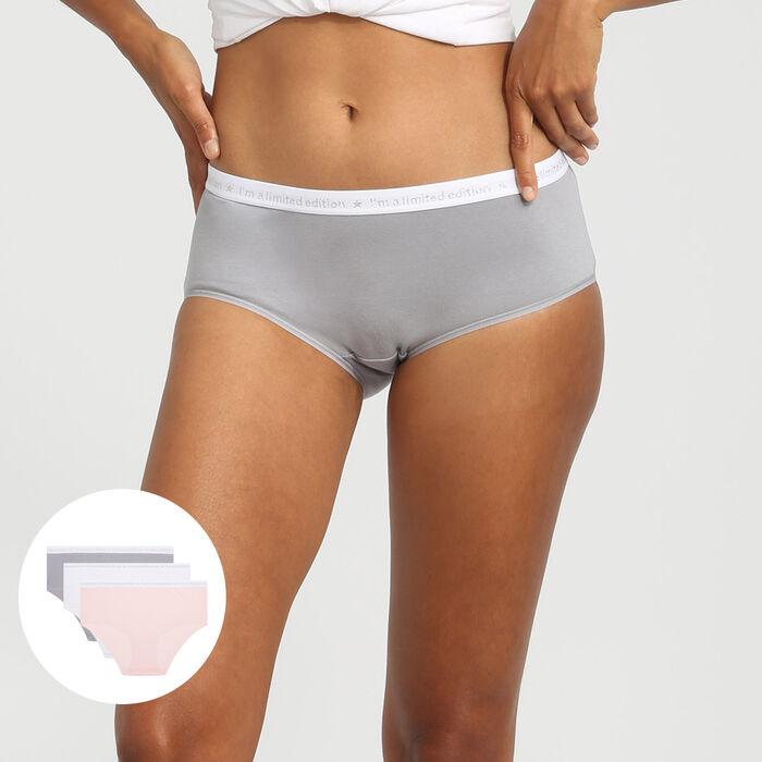 Pack de 3 culottes de algodón rosa/blanco/gris Les Pockets Edition Limitée, , DIM