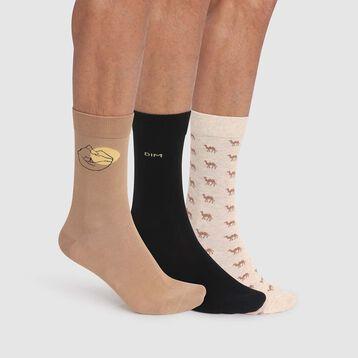 Pack de 3 pares de calcetines de algodón hombre estampado desierto beige Coton Style, , DIM