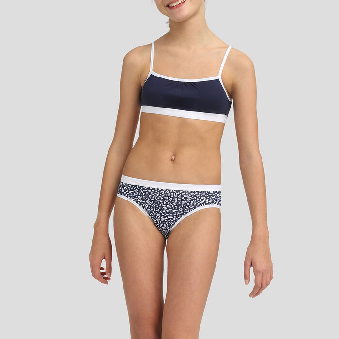 Pack 3+1 de braguitas para niña de algodón elástico azul marino Les Pockets, , DIM