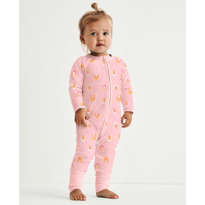Pijama para bebé con cremallera de algodón elástico rosa estampado arco iris Dim Baby, , DIM