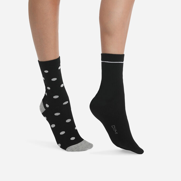 Juego de 2 pares de calcetines de mujer de lunares grandes Negro Coton Style, , DIM
