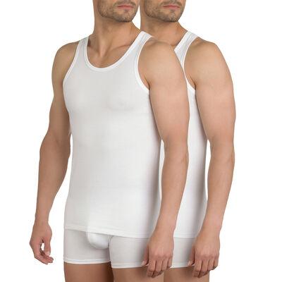 Pack de 2 camisetas de tirantes blancas de algodón elástico X-Temp, , DIM