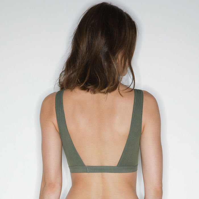 Sujetador halter con pechera frontal de encaje Verde Caqui Jolie Madame, , DIM