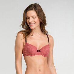 Sujetador clásico de encaje rosa y marrón - Dim Sublim Dentelle, , DIM