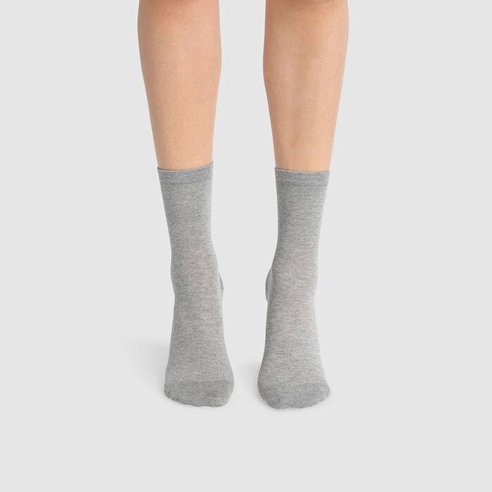 Pack de 2 pares de calcetines para mujer de algodón lyocell gris Green by Dim, , DIM