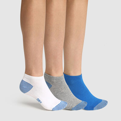 Pack de 3 pares de calcetines bajos para niña mix and match azul Coton Style, , DIM