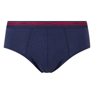 Slip azul marino de algodón elástico con cintura roja Classic Colors, , DIM