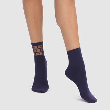 Pack de 2 pares de calcetines azul petróleo con tul y plumetis Skin Dots, , DIM
