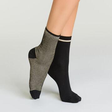 Pack de 2 pares de calcetines de algodón de rayas con efecto lurex, , DIM