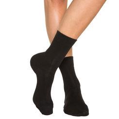Lote de 2 pares de calcetines negros para mujer de puro algodón, , DIM