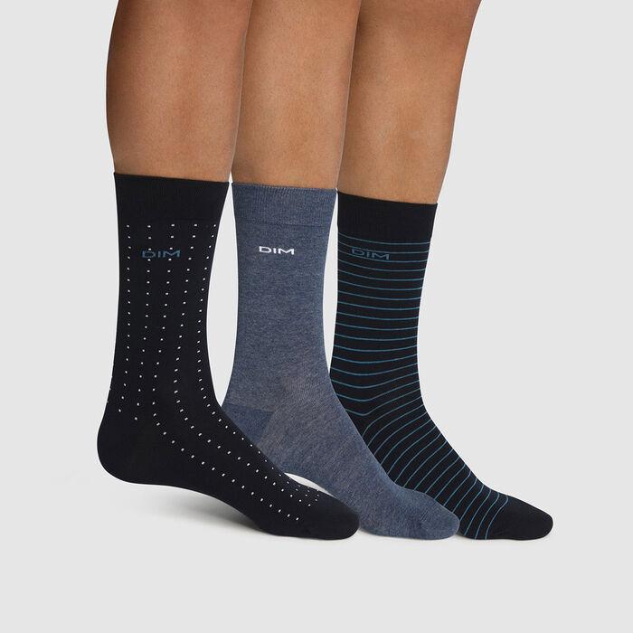 Pack de 3 pares de calcetines de algodón para hombre de rayas y lunares azul Coton Style, , DIM