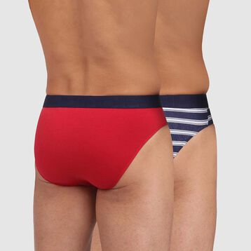 Pack de 2 slips rojo y azul marino de rayas Mix and Fancy, , DIM