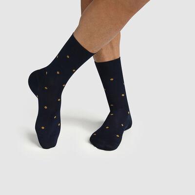 Calcetines para hombre hilo de Escocia de lunares gris amarillo Made in France Dim, , DIM