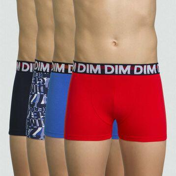 Pack de 4 boxers niño de algodón elástico Marine, , DIM