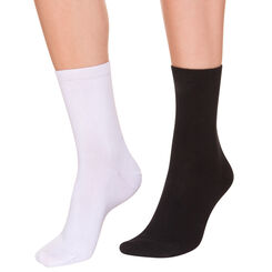 Lote de 2 pares de calcetines de media pantorrilla negros y blancos para mujer, , DIM