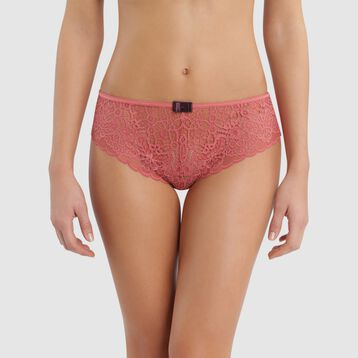 Culotte de encaje rosa con lazo marrón - Sublim Fashion , , DIM