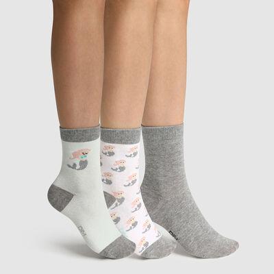 Pack de 3 pares de calcetines para niña estampado sirena Coton Style, , DIM