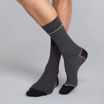 Pack de 2 pares de calcetines negros y grises estampados Hombre - Coton Style, , DIM