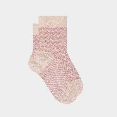 Calcetines para mujer de algodón con estampado de espigas lurex rosa Made in France, , DIM