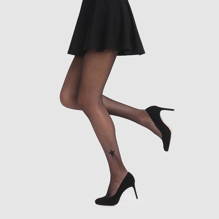 Panty negro de rejilla con estrella Agnès B. x Dim, , DIM