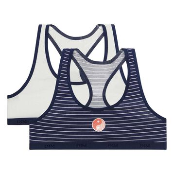 Pack de 2 tops deportivos de niña azul marino y blanco - Box Japon, , DIM