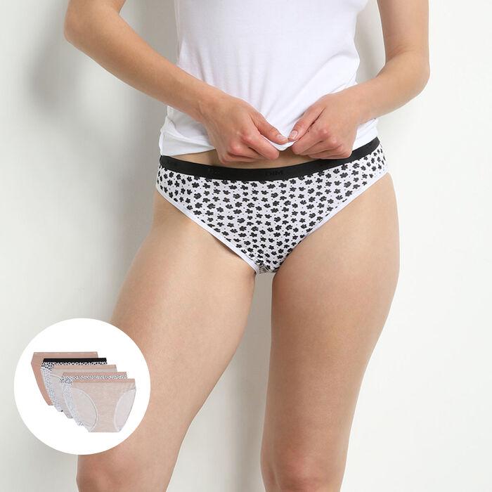 Pack de 5 bragas tipo slip de algodón elástico con estampados románticos Les Pockets, , DIM
