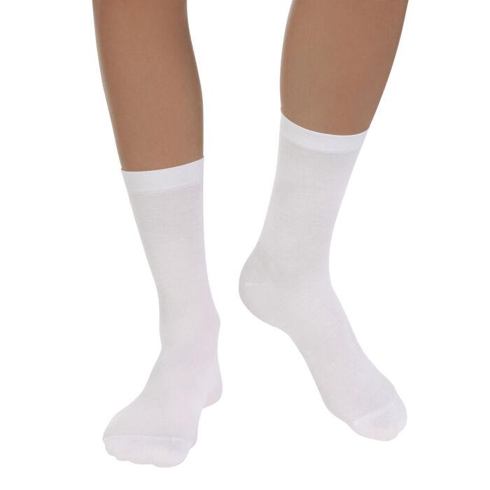 Lote de 2 pares de calcetines blancos Light Coton para mujer, , DIM