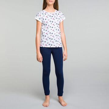 Pijama de niña de algodón azul marino con motivos de flores - Stripes, , DIM