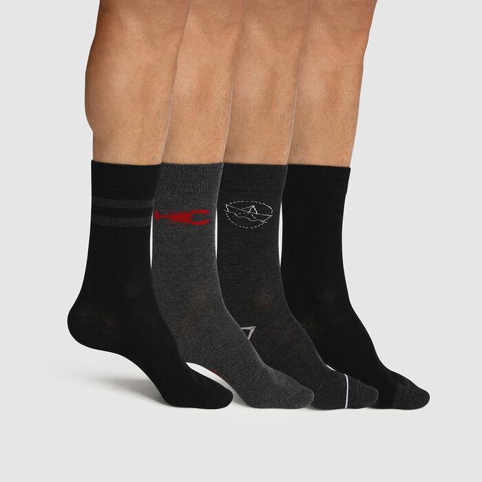 Pack de 4 pares de calcetines para hombre estampado marinero gris Les Bons Plans, , DIM